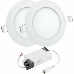 2x Round Recessed Kitchen bathroom Ceiling Wall LED 6W Panel Light White Lamp