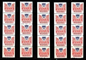 Computer Vended Postage MNH CVP31 Type 1 Plate strips 5 Values to $9.95 Face $75
