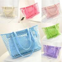 Women Transparent Handbag Shoulder Bag Clear Jelly Purse Clutch PVC Tote Big Bag