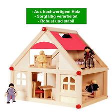 Puppenhaus aus Holz mit 4 Puppen und Möbeln 2 Etagen Puppenstube