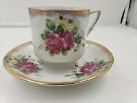 Vintage LM Royal Halsey pink rose Gold Footed Teacup & Saucer Fine China Set