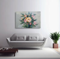 Hungryartist - NY artist - Large original abstract floral oil painting 24X36