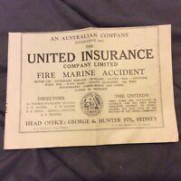 Advertisment - United Insurance Company - Australia - 1937