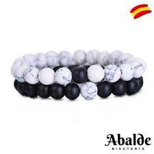 2 Unids /Set Pulsera Cuentas Piedra Natural Blanco y Negro Yin Yang Hombre Mujer