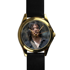 Gold Custom Leather Strap Watch Daryl Dixon Norman Reedus Walking Dead Zombies