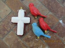 Vintage Mix Holiday Lights Cross and Three Birds