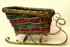 Wicker Sleigh Red and Green Vintage Metal Runners Christmas Decoration