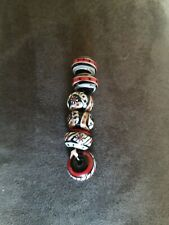 5 Lampwork Beads Red Black White Colored