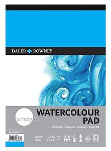 Daler Rowney Simply Artists Watercolour Painting Paper Pad 190gsm A4