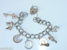 Sterling Silver Charm Bracelet Silver Charms Heart Padlock Seahorse Mermaid