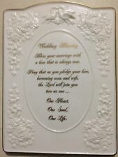 Wedding Blessing Fine Bone China Standing Plaque Great Condition White & Gold