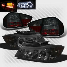For Smoked 06-08 E90 3-Series 4 Dr Halo Pro Headlights Lights+LED Tail Lights