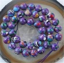 8mm Purple Multicolor Turquoise Gem Round Loose Bead 15''##EE064