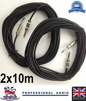 Jack to Jack Cable 2 x 10m Speaker Lead 1/4 (6.35mm) Jack for PA Systems (PAIR)