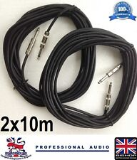 Jack to Jack Cable 2 x 10m Speaker Lead 1/4 Jack for PA System DJ Band (PAIR)