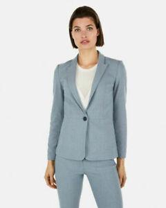NWT WOMENS EXPRESS TEXTURED SLIT CUFF BLAZER SIZE 4 SLATE BLUE NEW $128.00