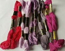 Pink Purple Cotton Embroidery Threads Skeins X 10 Each One is 8 Metres Long P1