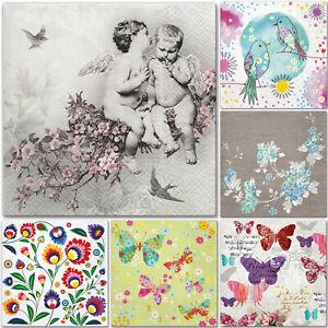 5 x Single Paper Table Napkins for Decoupage * Vintage  Angels Birds Butterflies