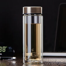 300ml Double Wall Glass Water Bottle Sports Travel Mug with Tea Infuser Strainer