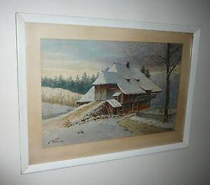 VINTAGE 1940-50s WATERCOLOUR SIGNED G. WILHELM WINTER SNOW EUROPEAN SCENE