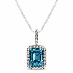 "1.50 Carat Blue Emerald Cut Diamond Halo Solitaire Pendant 18"" Chain 14K WG"