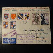 AVIACIÓN CARTA COVER PREMIER VUELO PARIS CHICAGO ESTADOS UNIDOS 19 OCTUBRE 1953