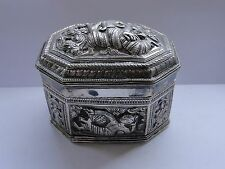 BOX, CHASED & ENGRAVED, STERLING SILVER, INDIA, 1880, BEAUTIFUL ANTIQUE,