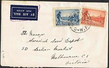 1934 Vic Centy 2d & 3d perf 10½ on airmail cover TS477