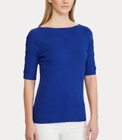 Ralph Lauren Cotton-Blend Sweater Deep Blue MSRP $89 Size M # 5D 1323 NEW