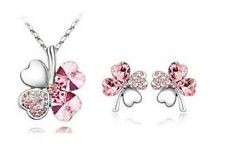 WHITE GOLD PLATED AUSTRIAN CRYSTAL PINK  FOUR LEAF CLOVER NECKLACE SET