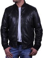 Brandslock Mens Leather Biker jacket Distressed bomber