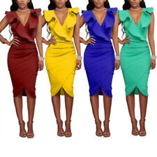 Women Summer Dresses  Sexy Sleeveless V Neck Pencil Party Ruffles Slim Dresses