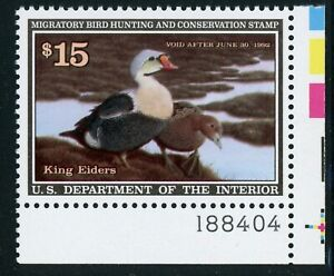 RW58 King Elders Federal Duck Stamp $15.00 MNH Plate Single