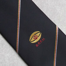 BRFU CLUB TIE RUGBY FOOTBALL UNION VINTAGE BLACK GOLDLION 1980'S RETRO SPORT
