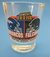 33rd Super Bowl Shot Glass, Denver Broncos vs Atlanta Falcons 1998 XXXIII