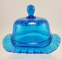 Mosser Art Glass Blue Daisy and Button Butter Dish