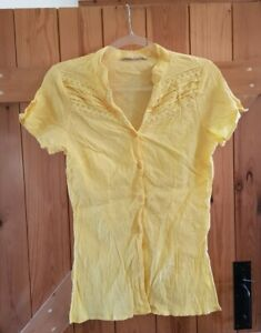 Cute sunshine yellow cheesecloth shirt, Daxon size uk 10