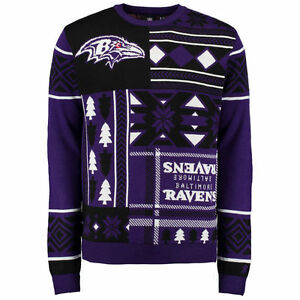 Baltimore Ravens Patches Ugly Christmas Sweater NFL Crew Neck NEW-2015 PICK SIZE