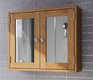 Oak Bathroom Cabinet | Wooden Wall Mounted Storage Mirror Cupboard/Unit