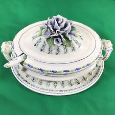 Vintage Porcelain Green Blue Roses Floral Oval Soup Tureen - Made in Italy