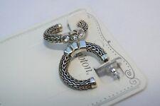 New Authentic Brighton Bali Silver & Crystal Hoop Post Earrings