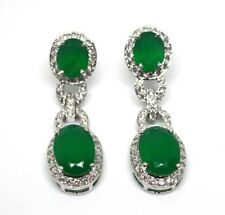 Gemstone 925 sterling Silver Natural Green Onyx & zircon earring Free shipping