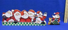 Capiz Shell Santa Candle Holder & St Nick Reindeer Photo Holder Christmas 2 Pcs