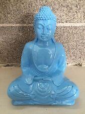 Baby Blue Sitting Buddha Mid Century Modern Resin Statue