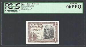 Spain1 Peseta, 22-7-1953  P144a  Uncirculated Graded 66
