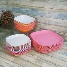 MELAMINE-12 DINNER PLATES -12 BOWLS-12 DESSERT PLATES-PINK, ORANGE, BRIGHT