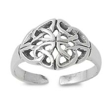 Silver 925 Jewelry Face Height 10mm Adjustable Celtic Toe Ring Genuine Sterling