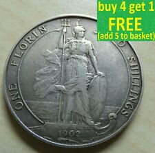 More details for edward vii florin/ two shillings silver coins choose your date 1902-1910 choice
