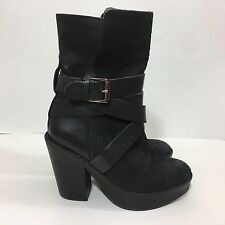 H & M Genuine Black Leather Buckle Platform Woman's Fuax Snake Boots Size 6