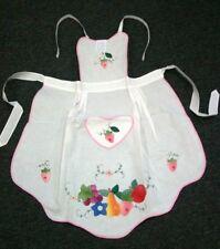 Embroidery Cotton Fruit Grape Strawberry Apple Pear Apron Pocket Unisex One Size